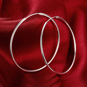 MilkySkinForever 100% 925 Sterling Silver Hoop Earring For Women 50MM Big Round Circle Earrings Jewelry Gift
