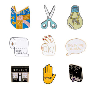MilkySkinForever Book Pin Scissors Brooches Light Bulb Badges Shit Happens Lapel Pins Funny Quote Stop Jewelry Books Pins Collection For Woman