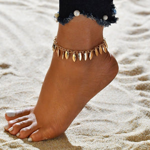 MilkySkinForever Crystal Sequins Anklet Set Beach Foot jewelry Vintage Ankle Bracelets For Women Summer Jewelry Party Gift