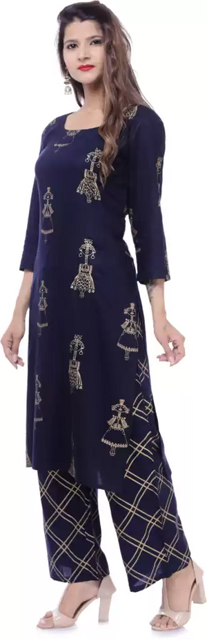 Women Kurta and Palazzo Set Cotton Rayon Blend