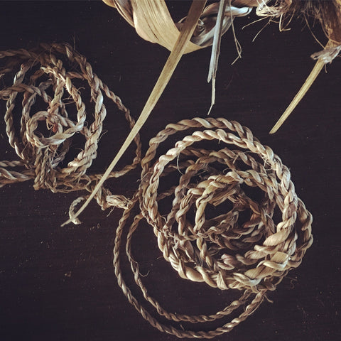 String making from Tī Kōuka Cabbage Tree leaves