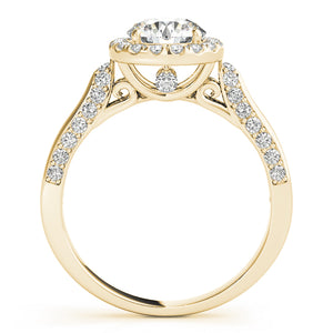 Beautiful in every way, this diamond engagement ring features round diamonds set in a halo design.