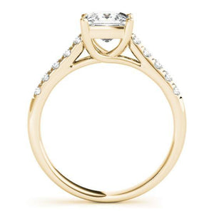 This beautiful princess cut diamond engagement ring showcases round diamonds that are set in pave design to accent your center diamond.