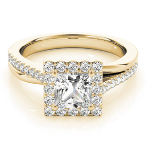 This white gold beautiful square halo engagement ring featuring pave set diamonds and your choice of center stone.
