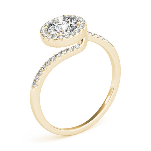 This elegant engagement ring has a twist, features micro pave set diamonds on the curved shank follow with a halo center stone of your choice.