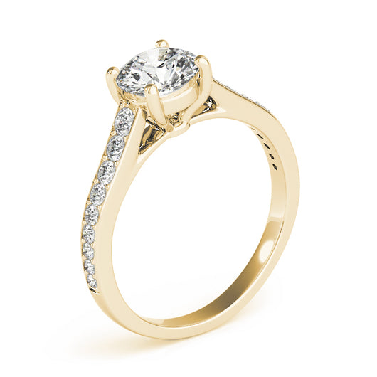This beautiful diamond engagement ring showcases round diamonds that are set in pave design to accent your center diamond.