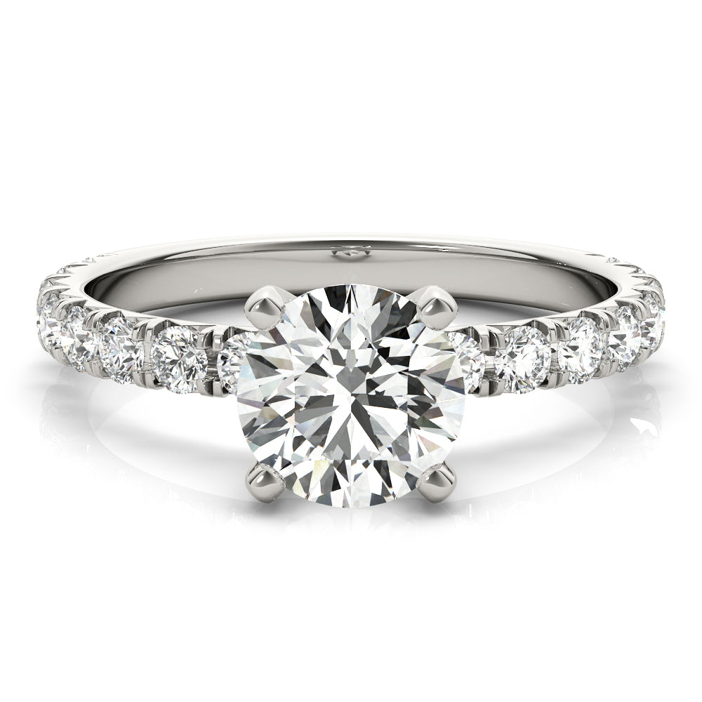 This beautiful pave diamond engagement ring is created to maximize the light that hits the diamonds from all around
