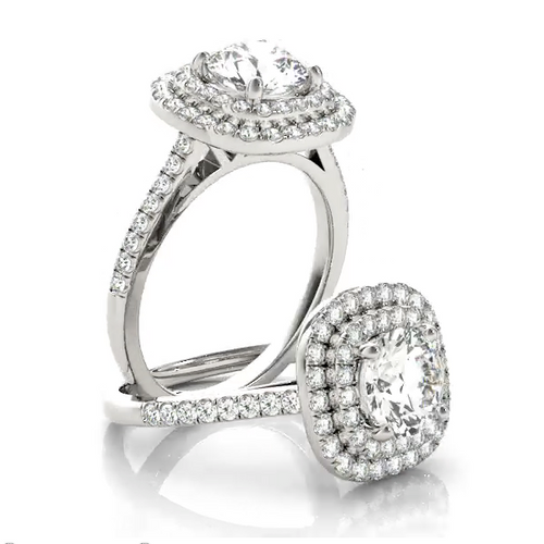 This gorgeous diamond engagement ring features a double halo around the centre diamond of you choice.