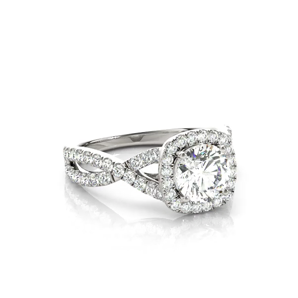 This unique design engagement ring features micro pave set diamonds along the twisted shank and the centre stone of your choice.