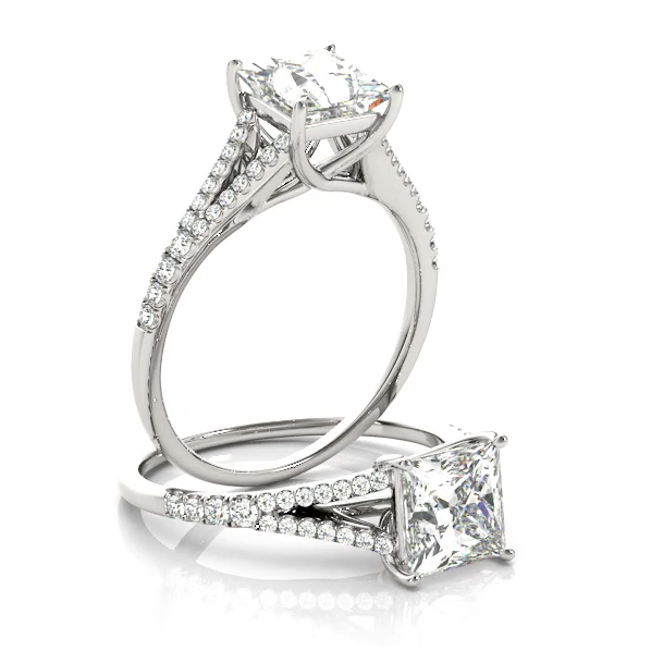 This unique design diamond engagement ring features a split shank pave set diamonds to compliment the center stone of your choice.