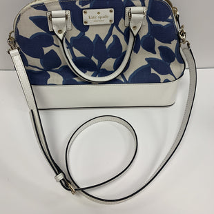 Handbag by Kate Spade size medium - FLORAL STYLE KATE SPADE HANDBAG WITH CROSSBODY STRAP IN BLUE AND WHITE..