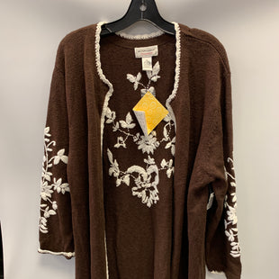 Primary Photo - BRAND:    CLOTHES MENTOR STYLE: SWEATER HEAVYWEIGHT COLOR: BROWN SIZE: 2X OTHER INFO: VICTOR COSTA  - FLORAL EMROIDERY SKU: 305-30549-2500