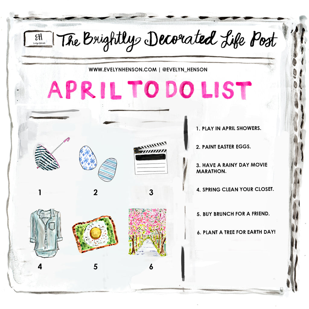 brightly decorated life April to do list | www.evelynhenson.com