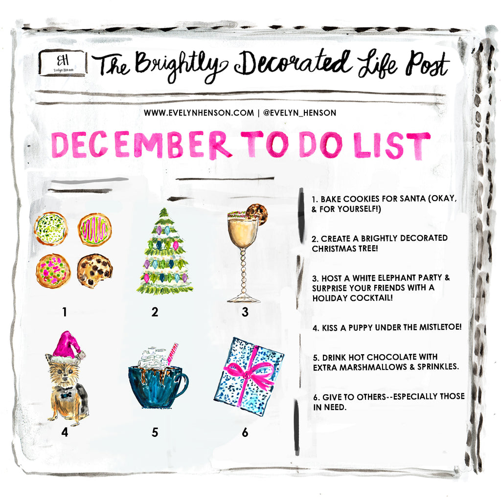 brightly decorated life December to do list | www.evelynhenson.com