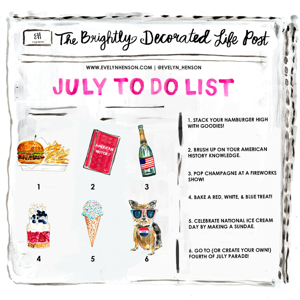 brightly decorated life July to do list | www.evelynhenson.com