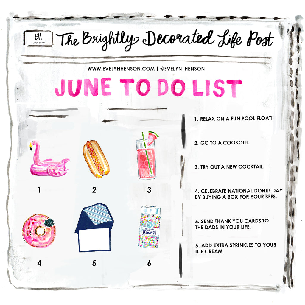 brightly decorated life June to do list | www.evelynhenson.com