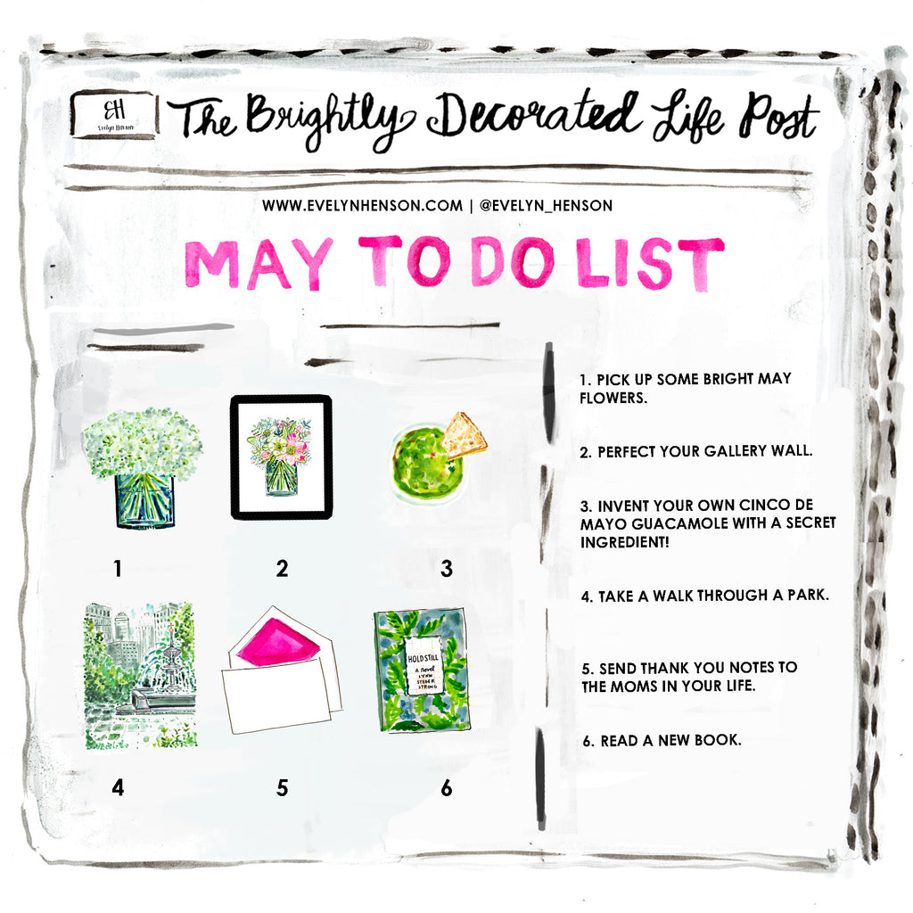 brightly decorated life May to do list | www.evelynhenson.com