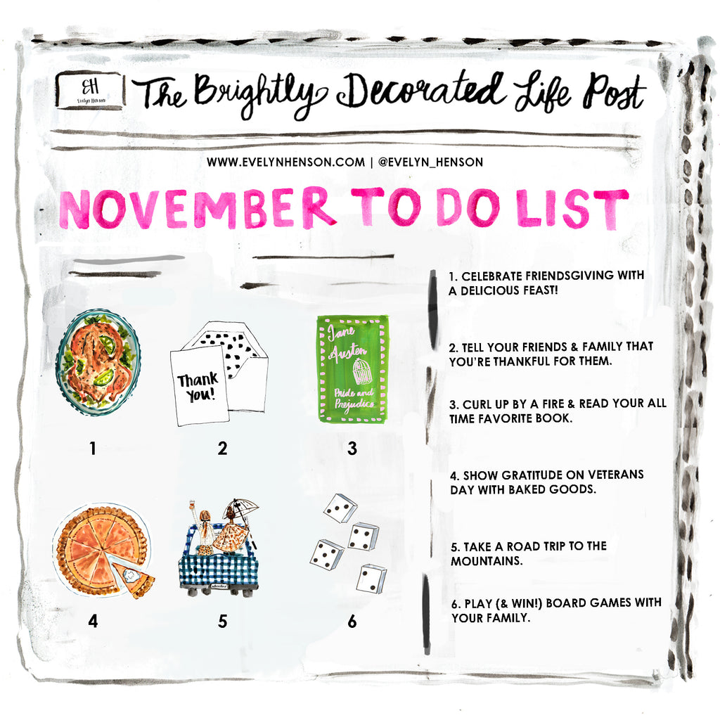 brightly decorated life November to do list | www.evelynhenson.com