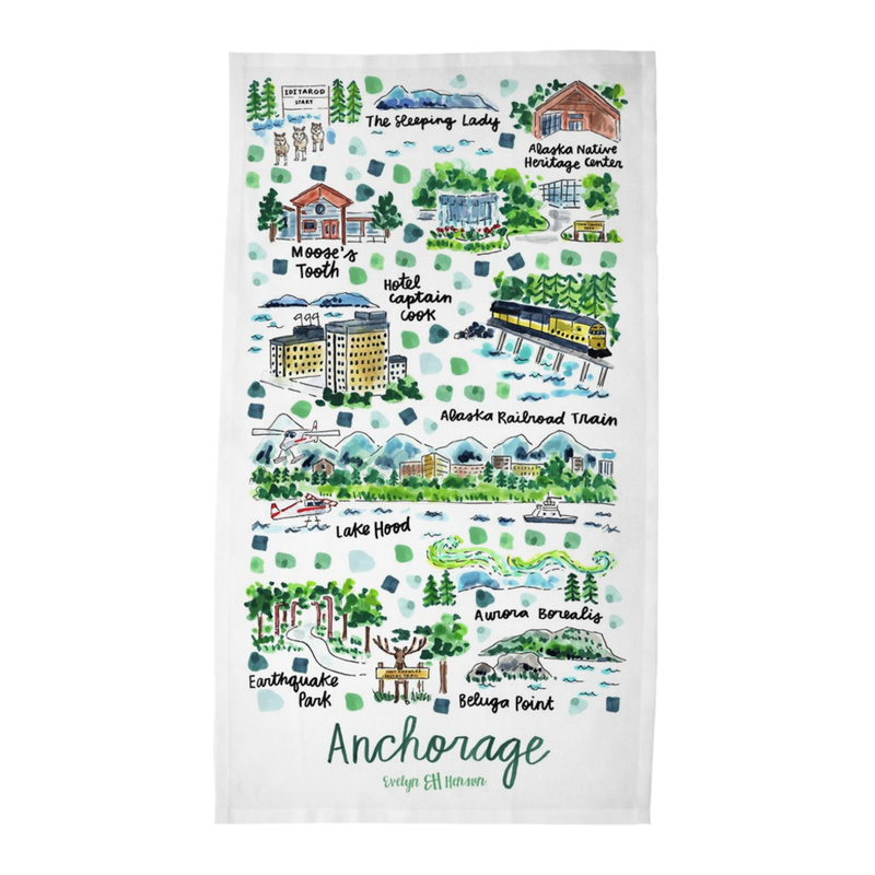 Anchorage, AK Tea Towel