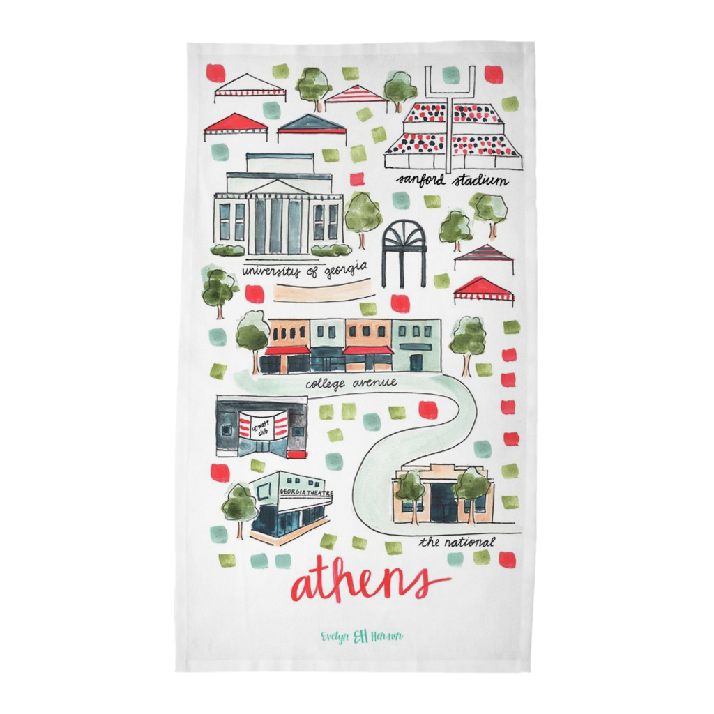 Athens, GA Tea Towel