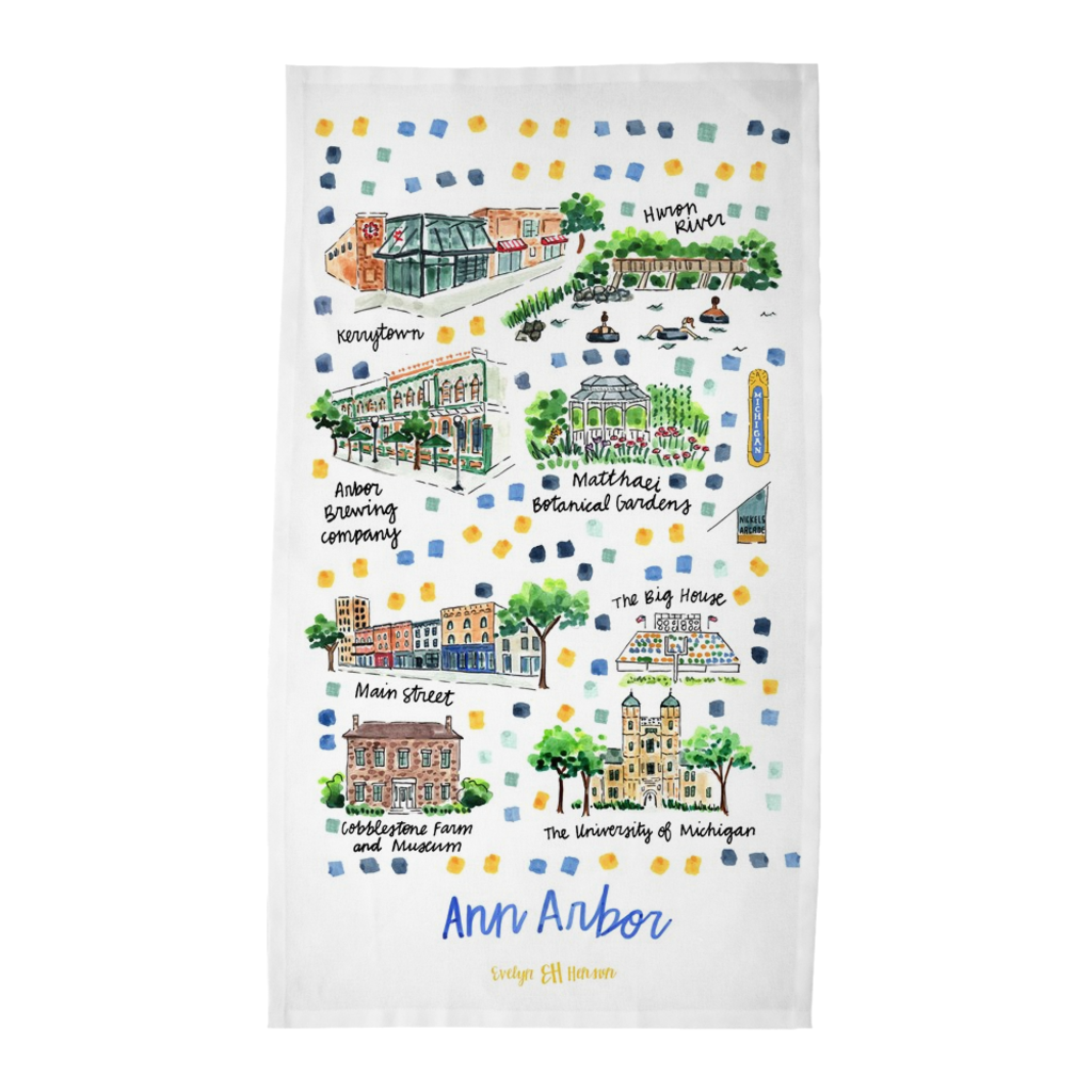 Ann Arbor, MI Tea Towel