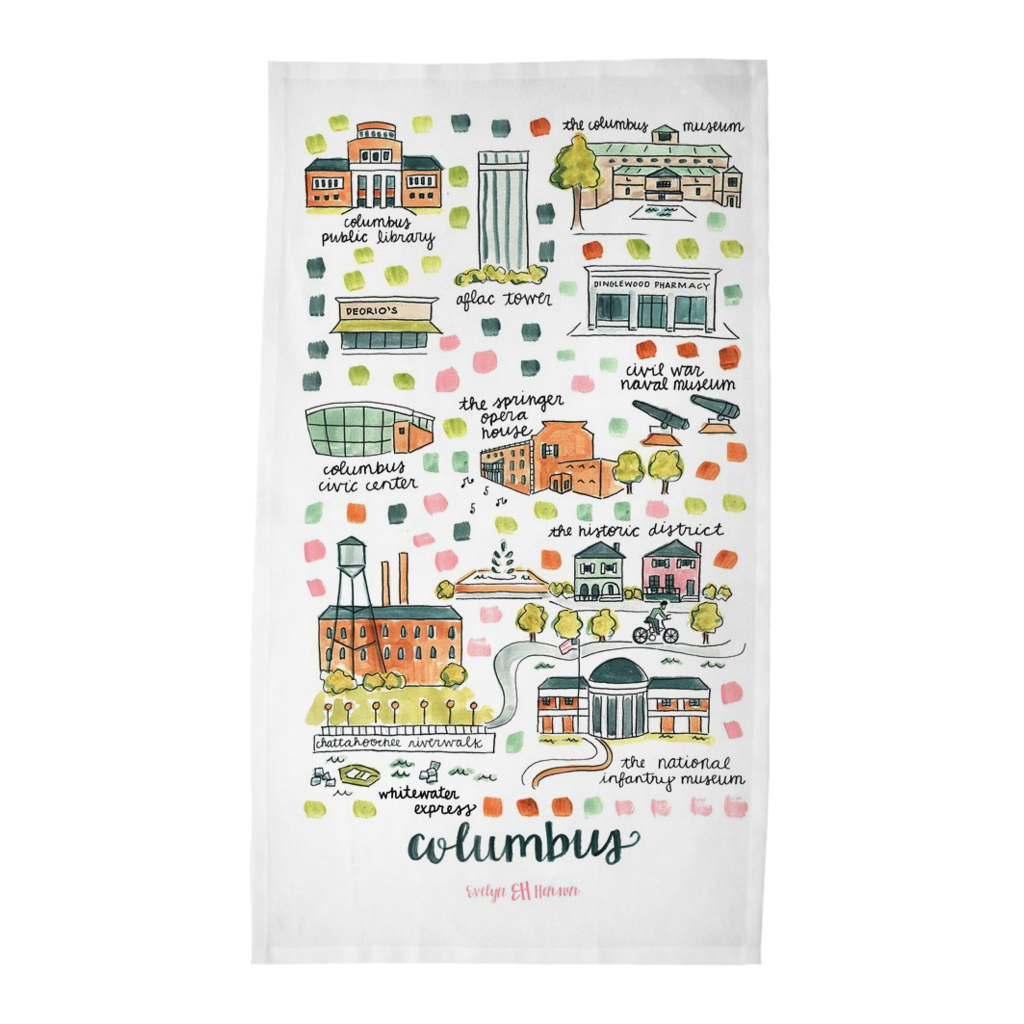 Columbus, GA Tea Towel