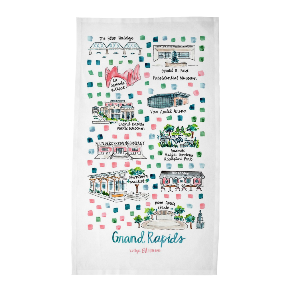 Grand Rapids, MI Tea Towel