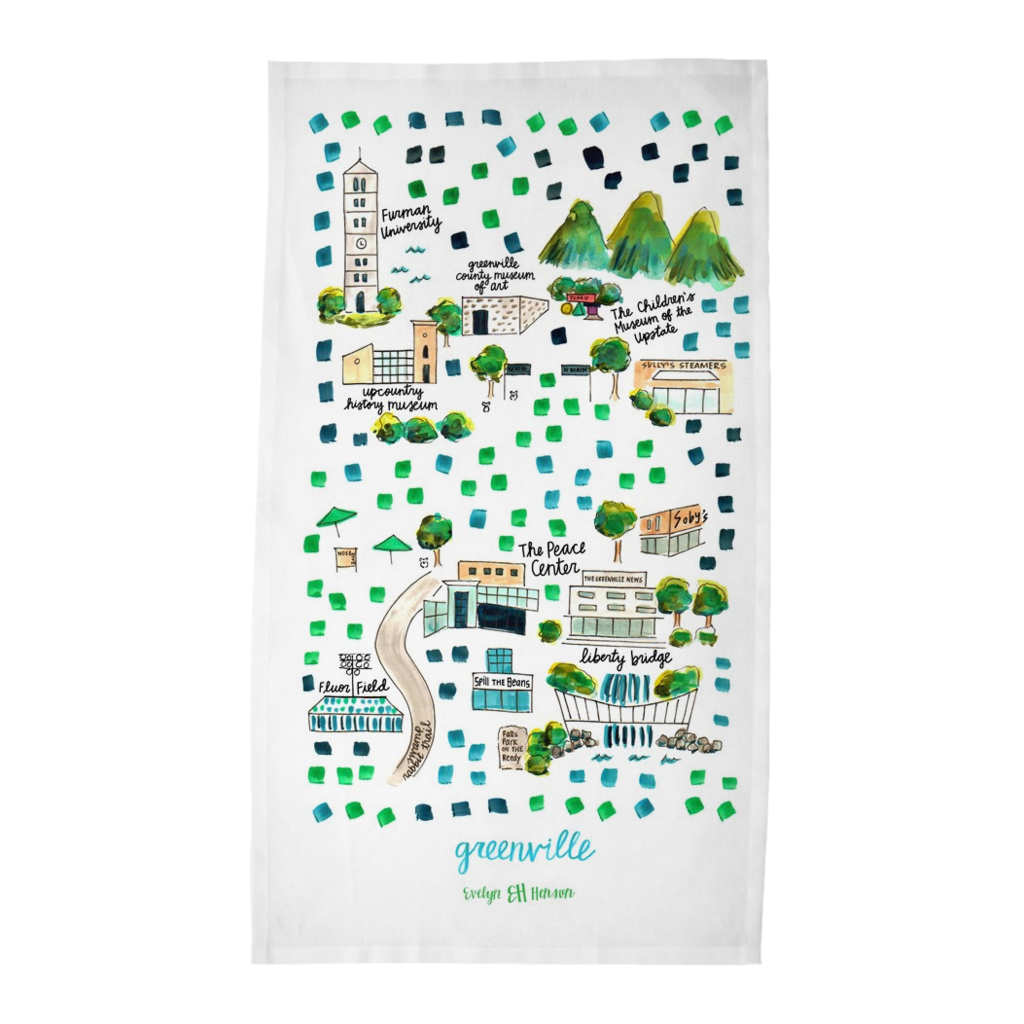 Greenville, SC Tea Towel