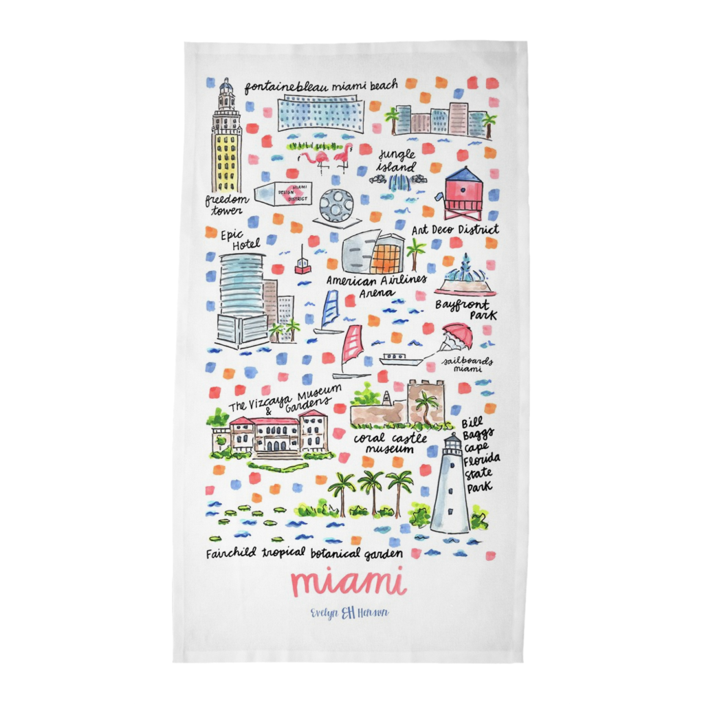 Miami, FL Tea Towel