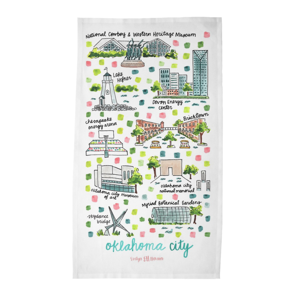 Oklahoma City, OK Tea Towel