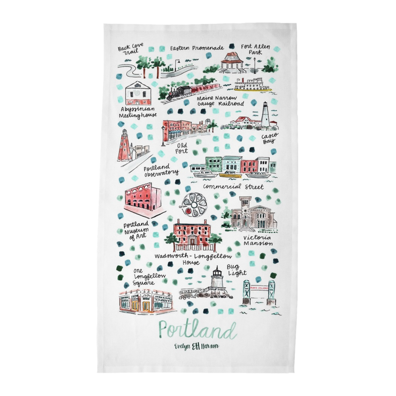 Portland, MA Tea Towel