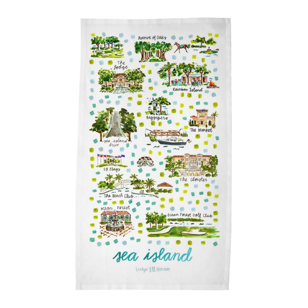 Sea Island, GA Tea Towel