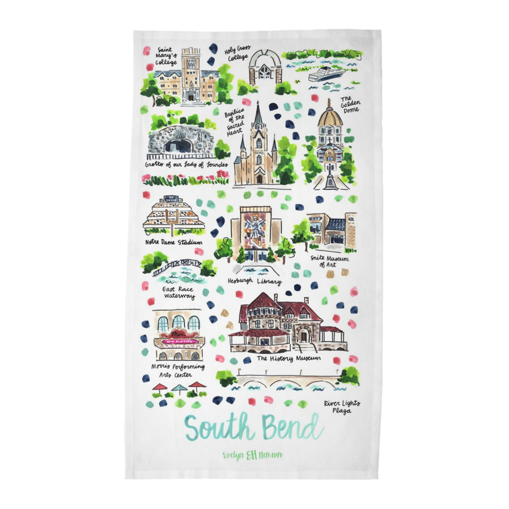 South Bend, IN Tea Towel