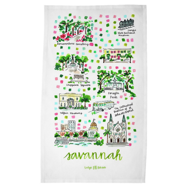 Savannah, GA Tea Towel