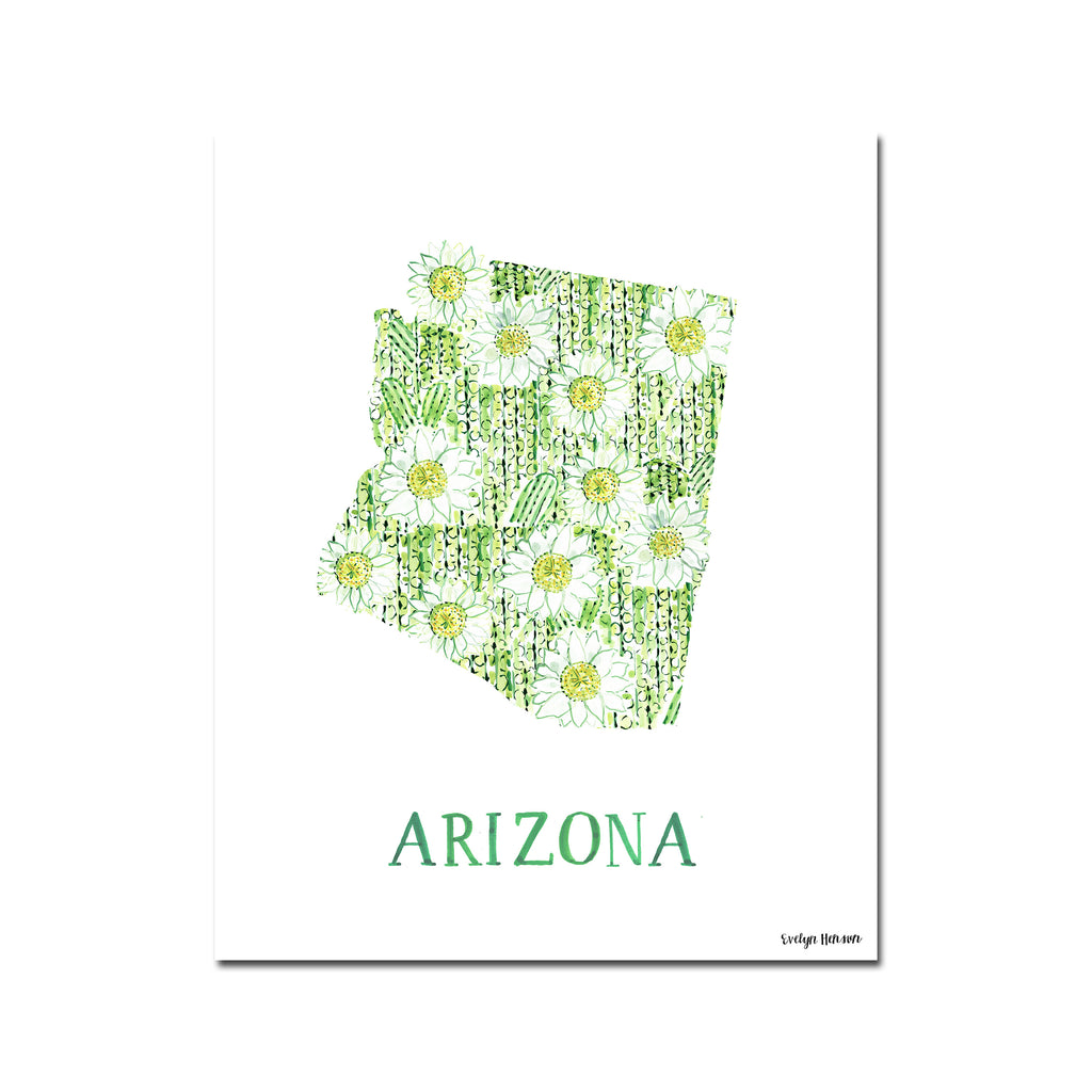 Arizona Saguaro Cactus Bloom Flower Print