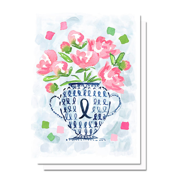 Breast Cancer Flowers Card