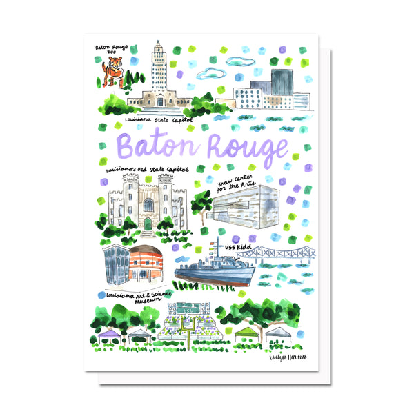Baton Rouge, LA Map Card