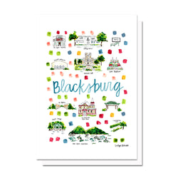 Blacksburg, VA Map Card