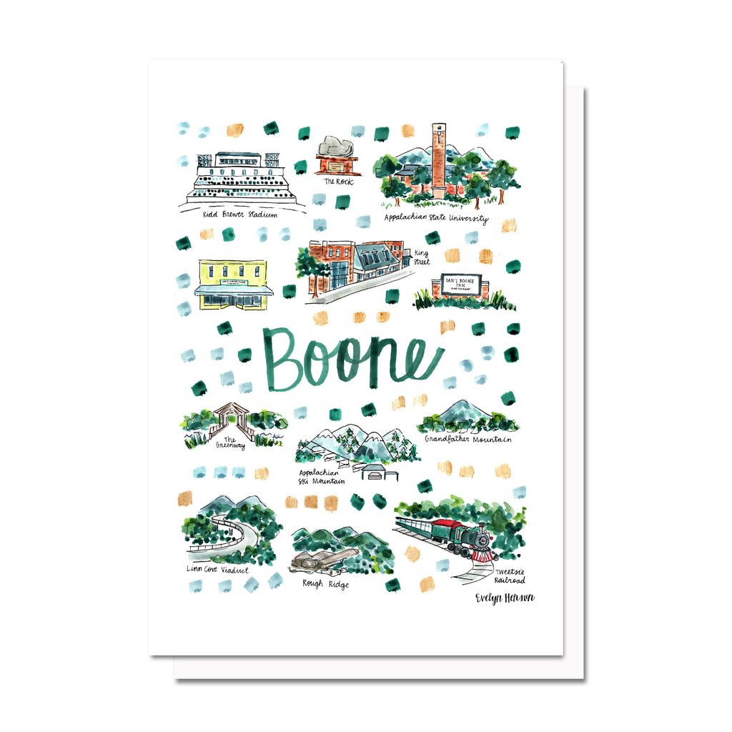 Boone, NC Map Card