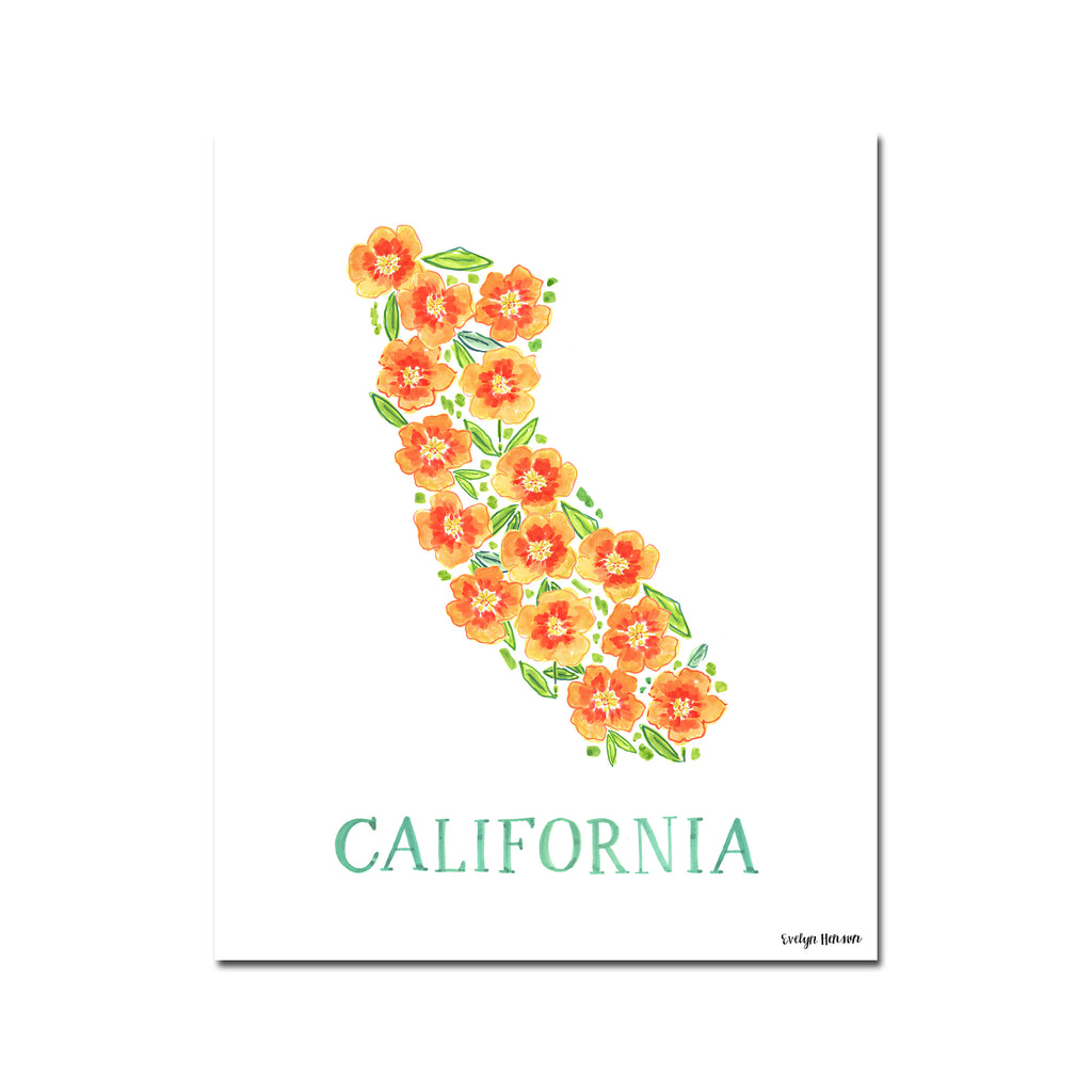 California Poppy Flower Print