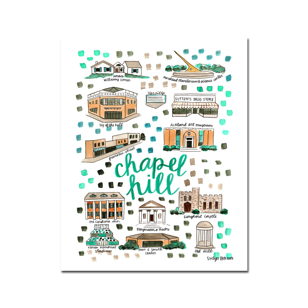 """Chapel Hill, NC"" Fine Art Print"