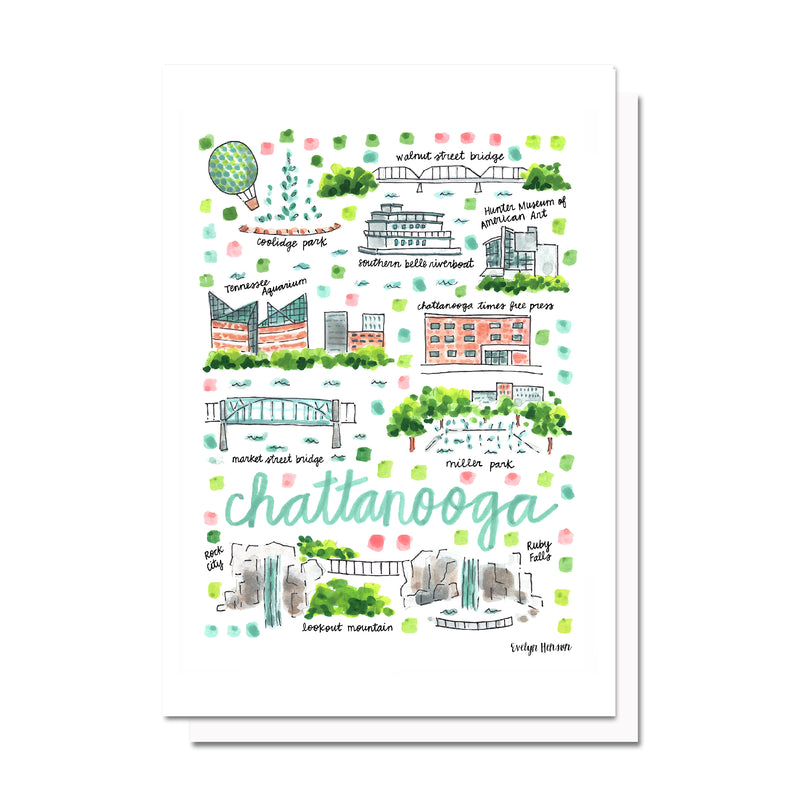 Chattanooga, TN Map Card
