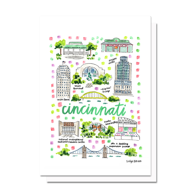Cincinnati, OH Map Card