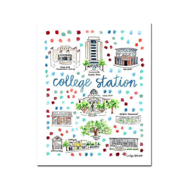 """College Station, TX"" Fine Art Print"
