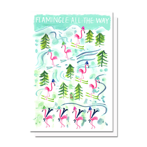 Flamingle All the Way Card
