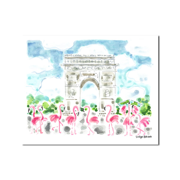 "The ""Flamingo to the  Arc de Triomphe"" Fine Art Print"