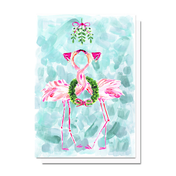 Holiday Flamingos Card