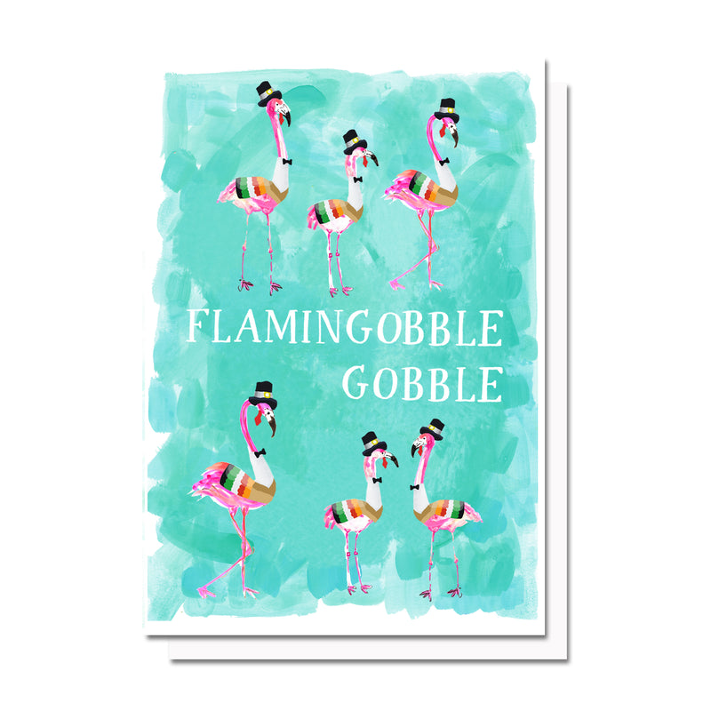 Flamingo-gobble, gobble Thanksgiving Card