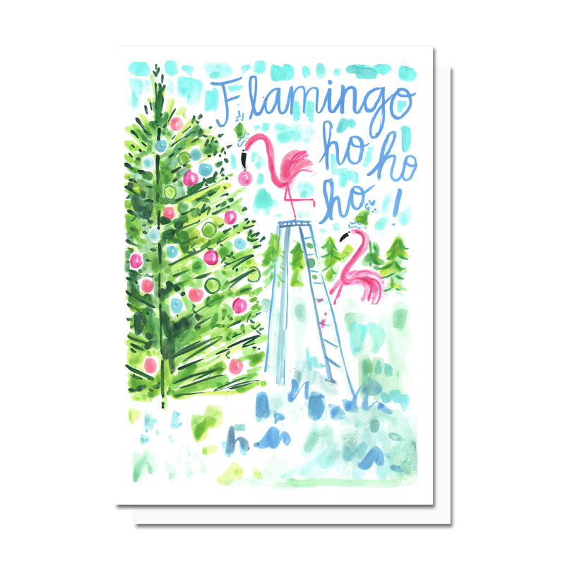 Flamingo-ho-ho-ho Card