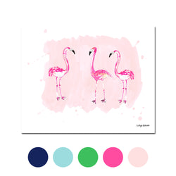 The Flamingos, Fine Art Print (Additional Colors Available)